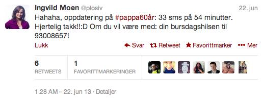 pappa60år twitter sms send melding