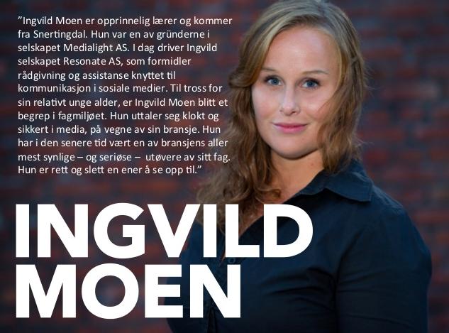 Presentasjon årets sosiale medie personlighet Ingvild Moen